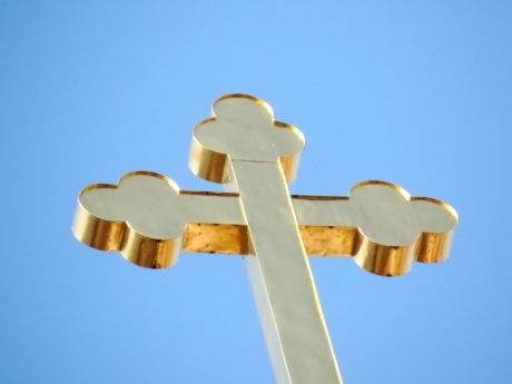 christianity, cross, crucifixion, gold, symbol, outdoors, steel, blue sky