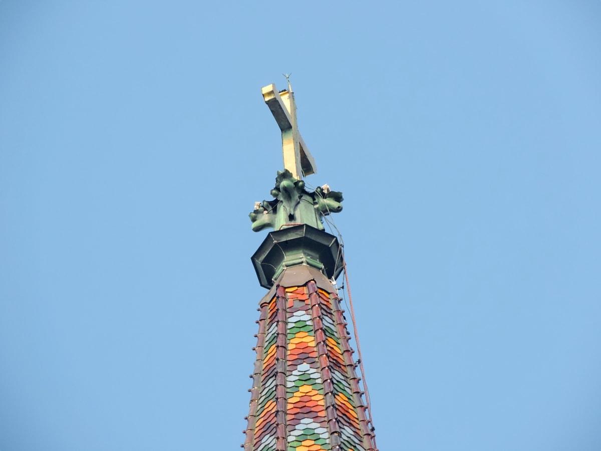 vjerovanje, crkveni toranj, križ, raspeće, arhitektura, na otvorenom, visoke, toranj