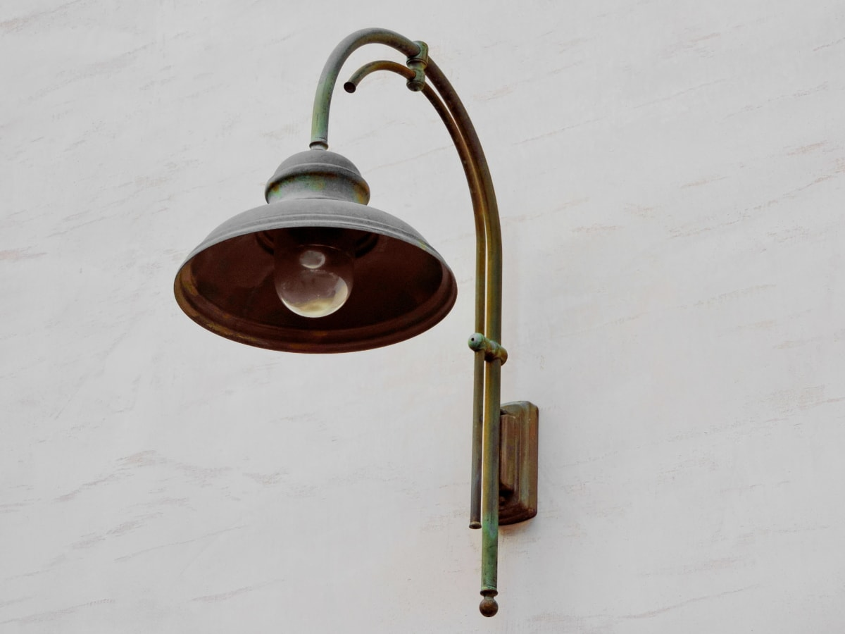 antik, Kuningan, lampu, model tahun, peralatan, retro, lama, Mebel