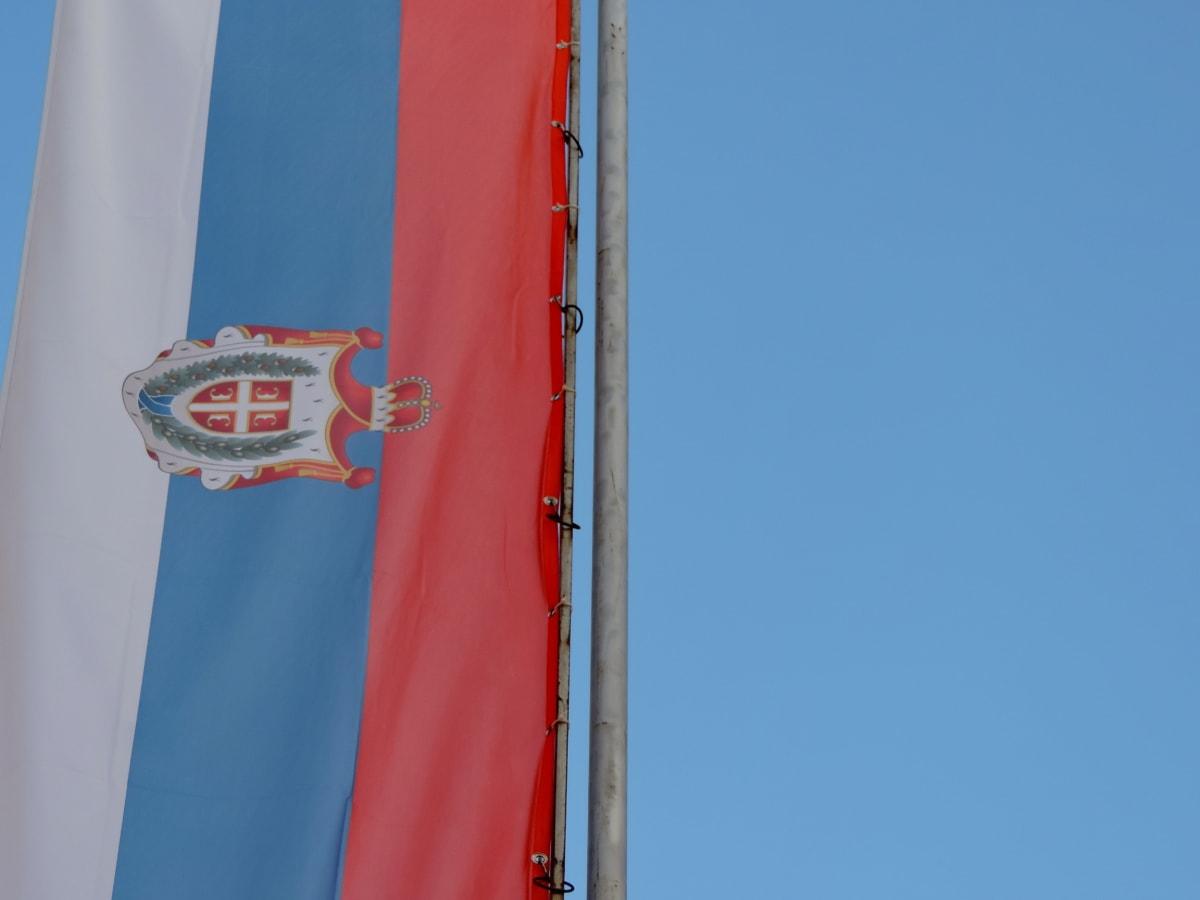 dag, flagga, självständighet, Serbien, tricolor, Utomhus, vind, patriotism