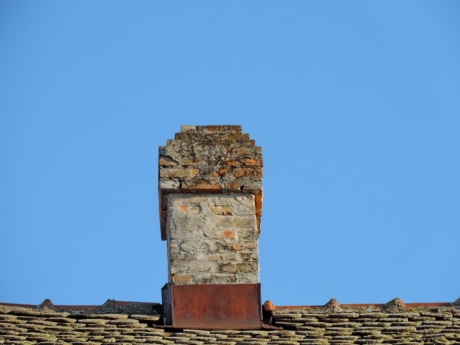 chimney, roof, building, old, architecture, house, wall, stone