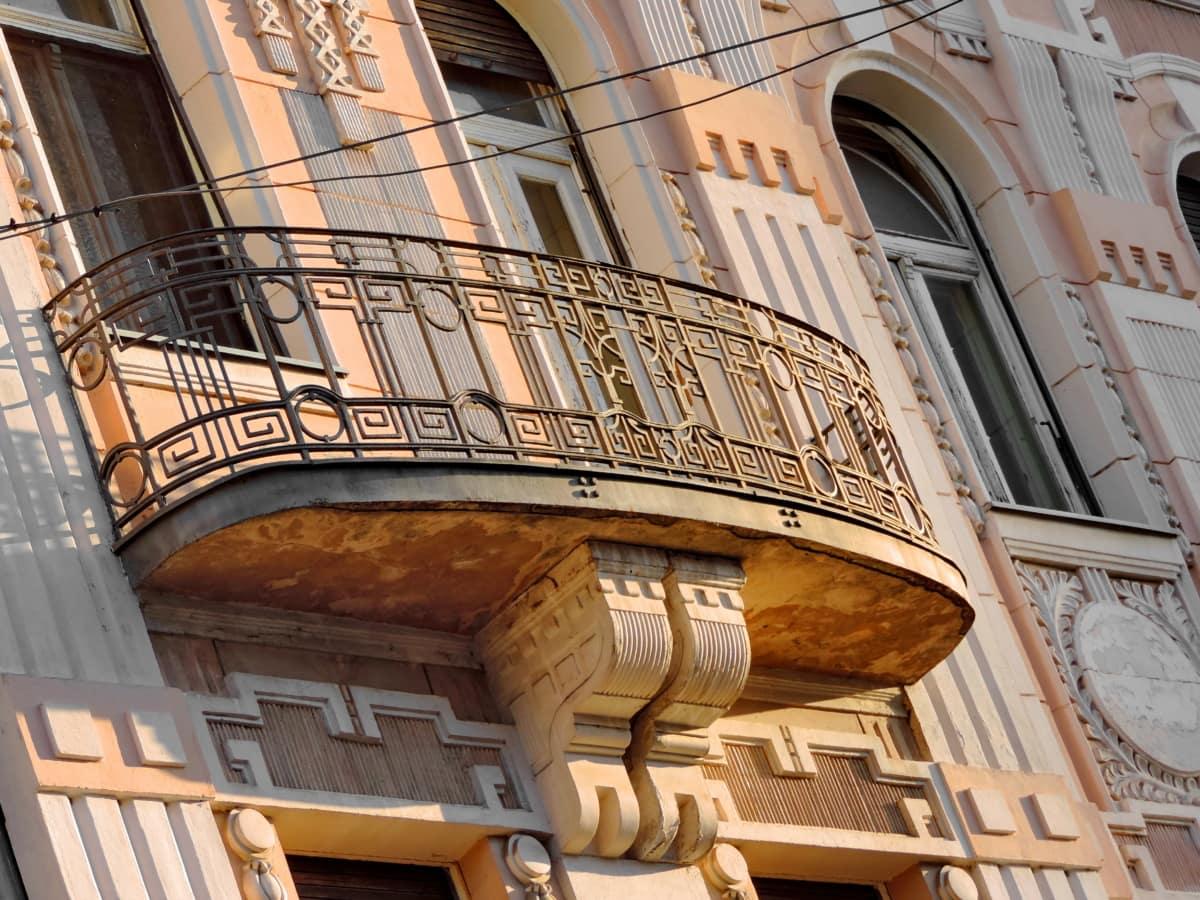 balkon, barok, lijevano željezo, centar grada, Srbija, arhitektura, zgrada, grad