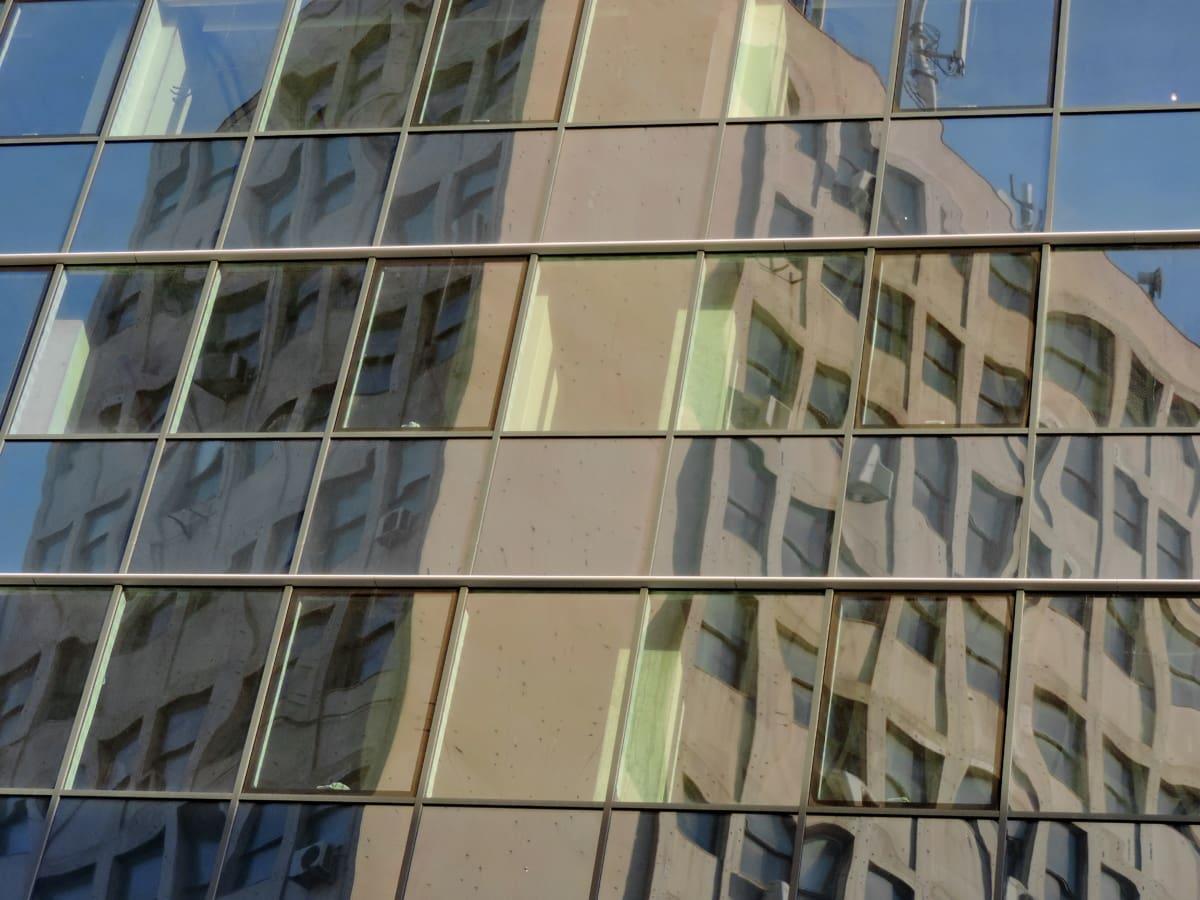 футуристичен, модерни, отражение, Прозорец, сграда, офис, бизнес, небостъргач