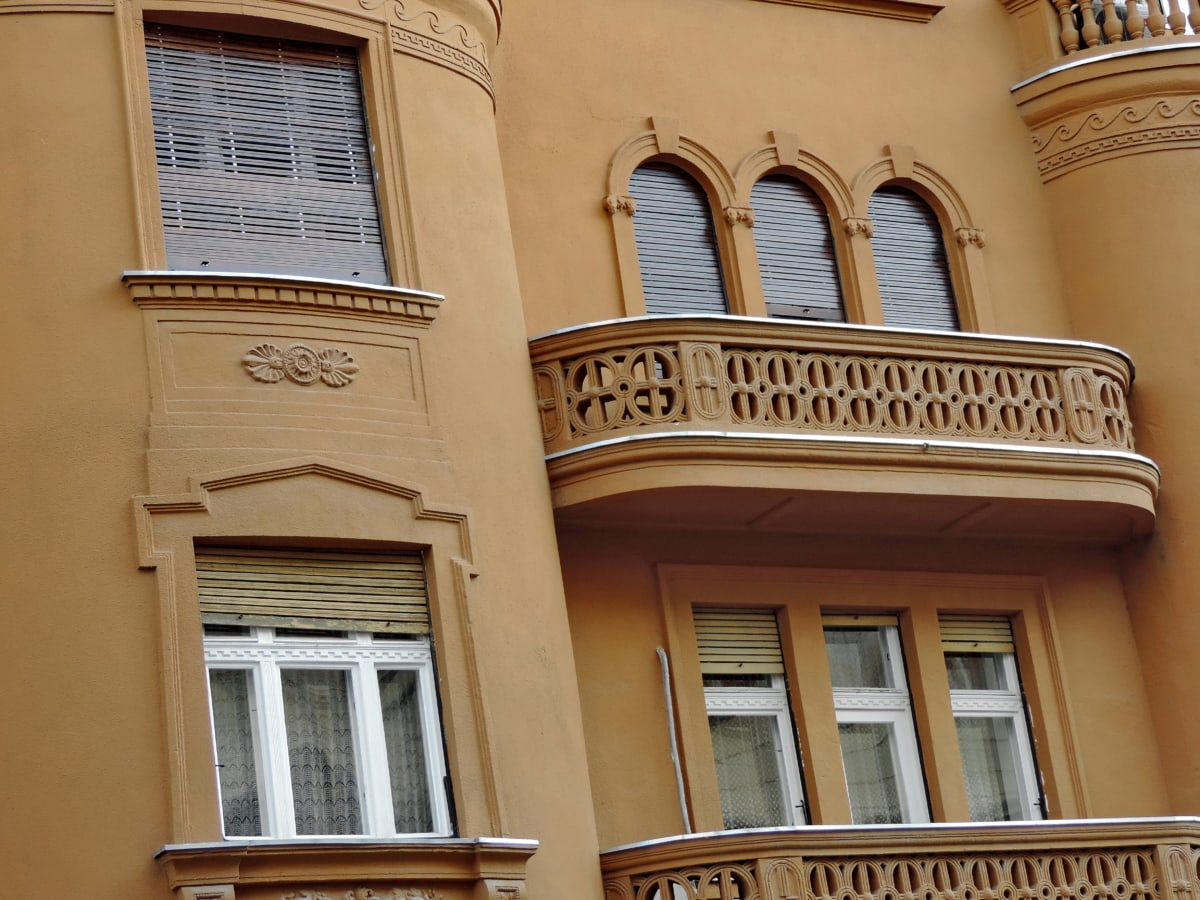 architecture, window, building, house, balcony, outdoors, facade, old