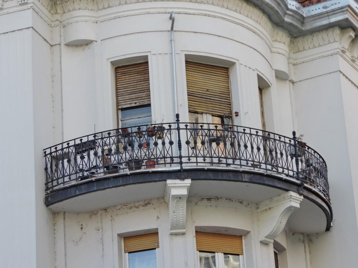 architektura, balkon, budova, venku, dům, město, fasáda, okno