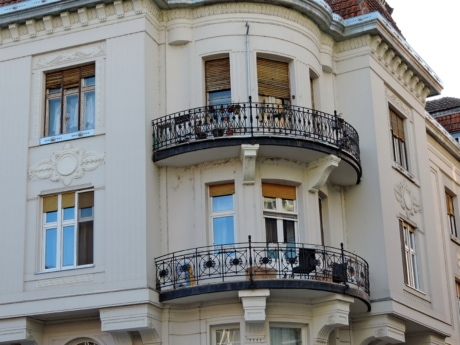 balcony, cast iron, fence, architecture, building, house, city, facade