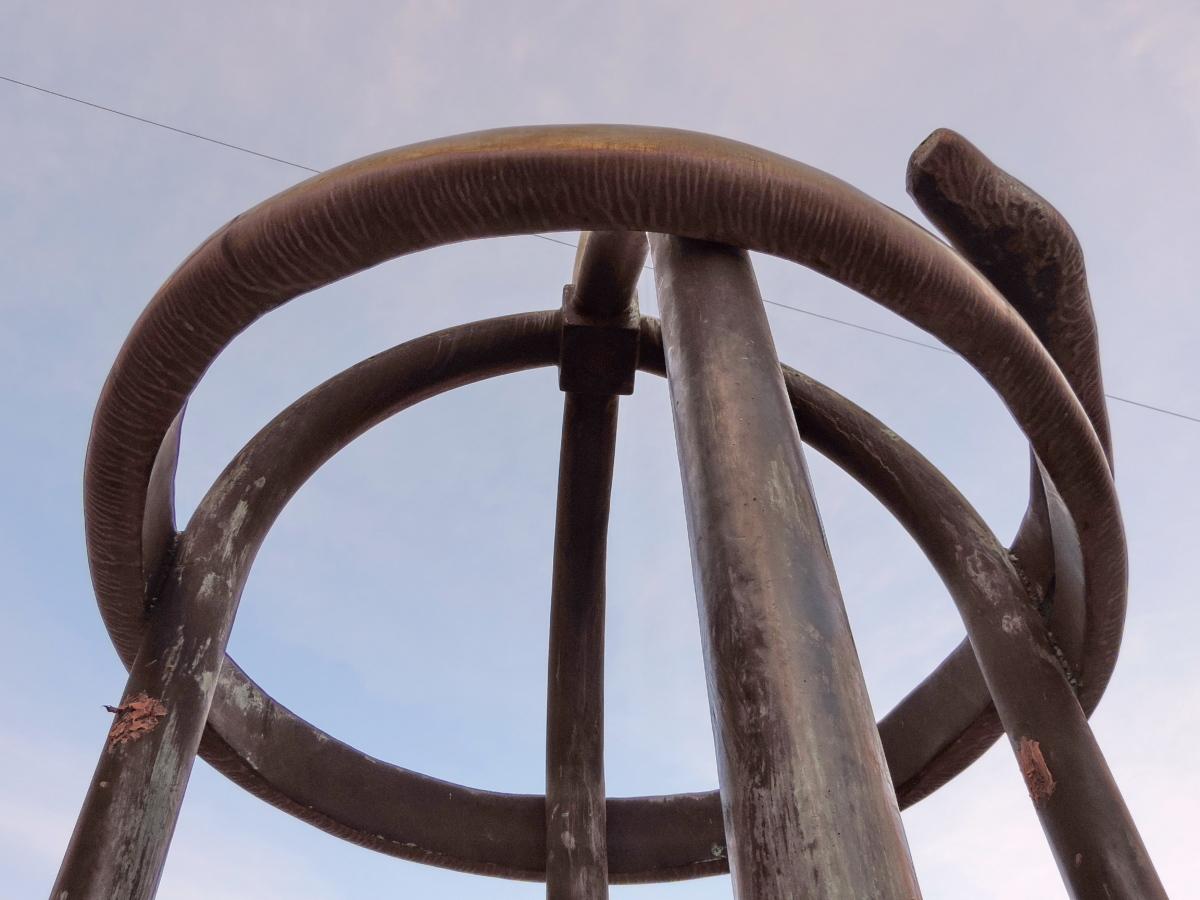 velké, mosaz, bronz, sochařství, ocel, železo, venku, staré