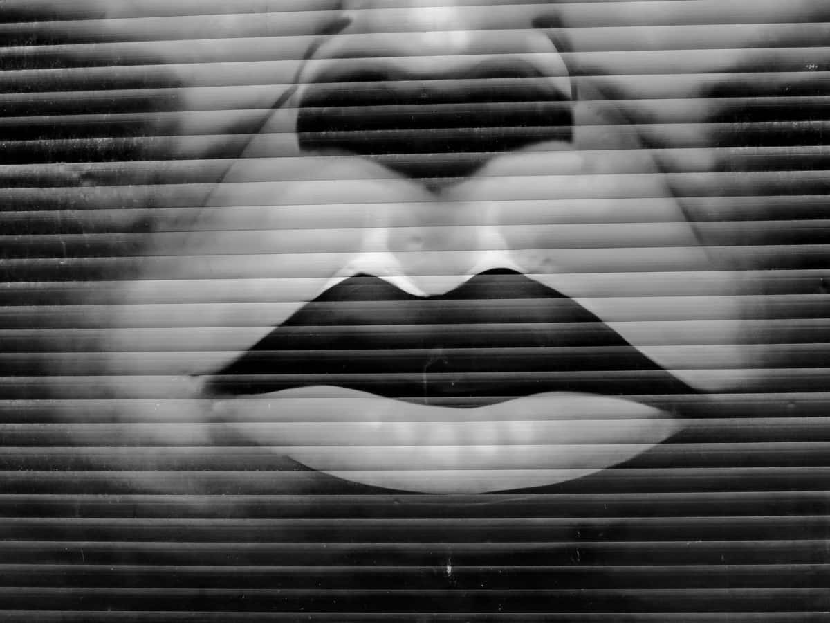 obličej, graffiti, černobílý tisk, ústa, nos, portrét, textura, abstrakt