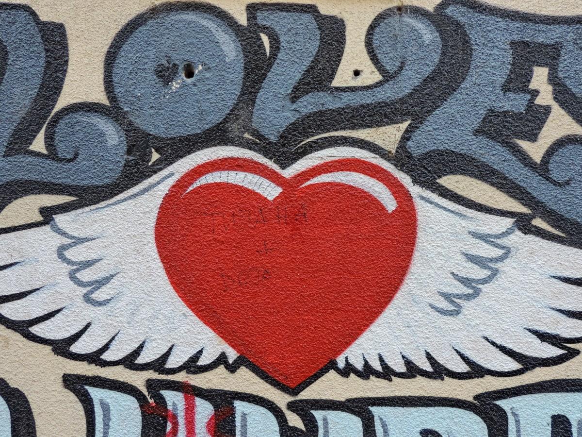 hjerte, kjærlighet, melding, Valentinsdag, symbolet, retro, årgang, gamle