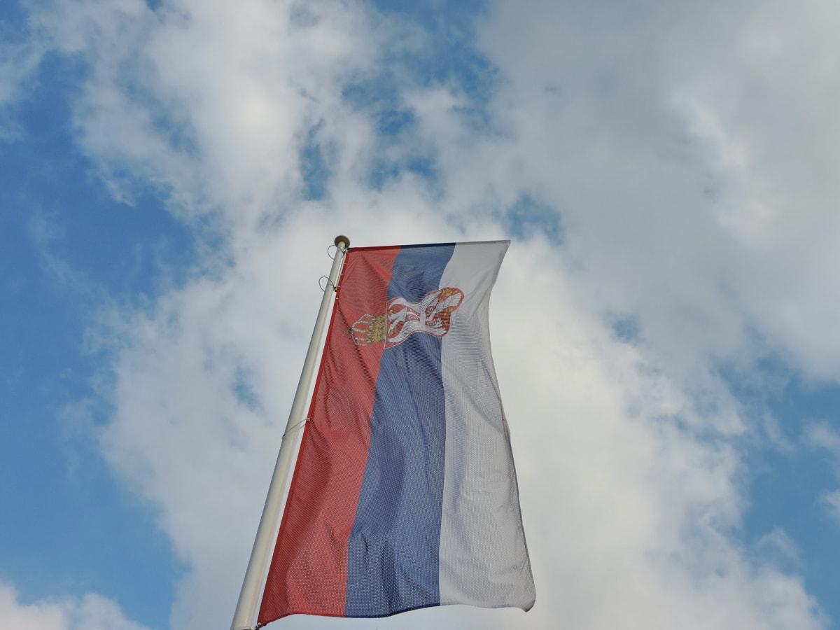 blue sky, democracy, democratic republic, flag, independence, patriotism, Serbia, wind