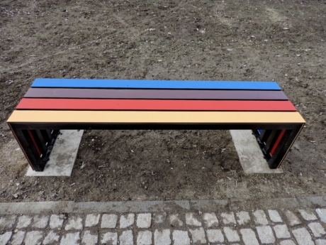 bench, empty, seat, wood, color, shadow, outdoors, summer