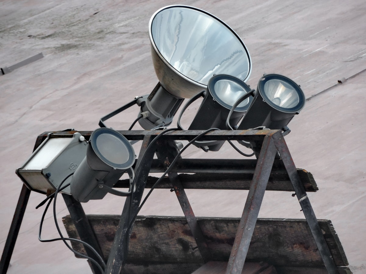 glödlampa, reflektor, enhet, Utomhus, gamla, utrustning, industrin, kraft