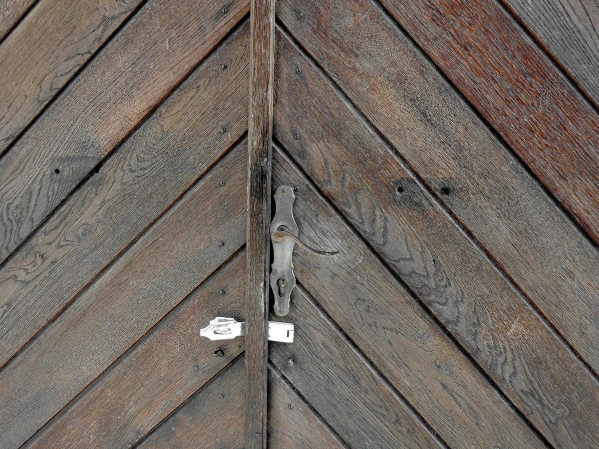 gjutjärn, ytterdörren, lövträ, Oak, timmer, trä, gamla, trä