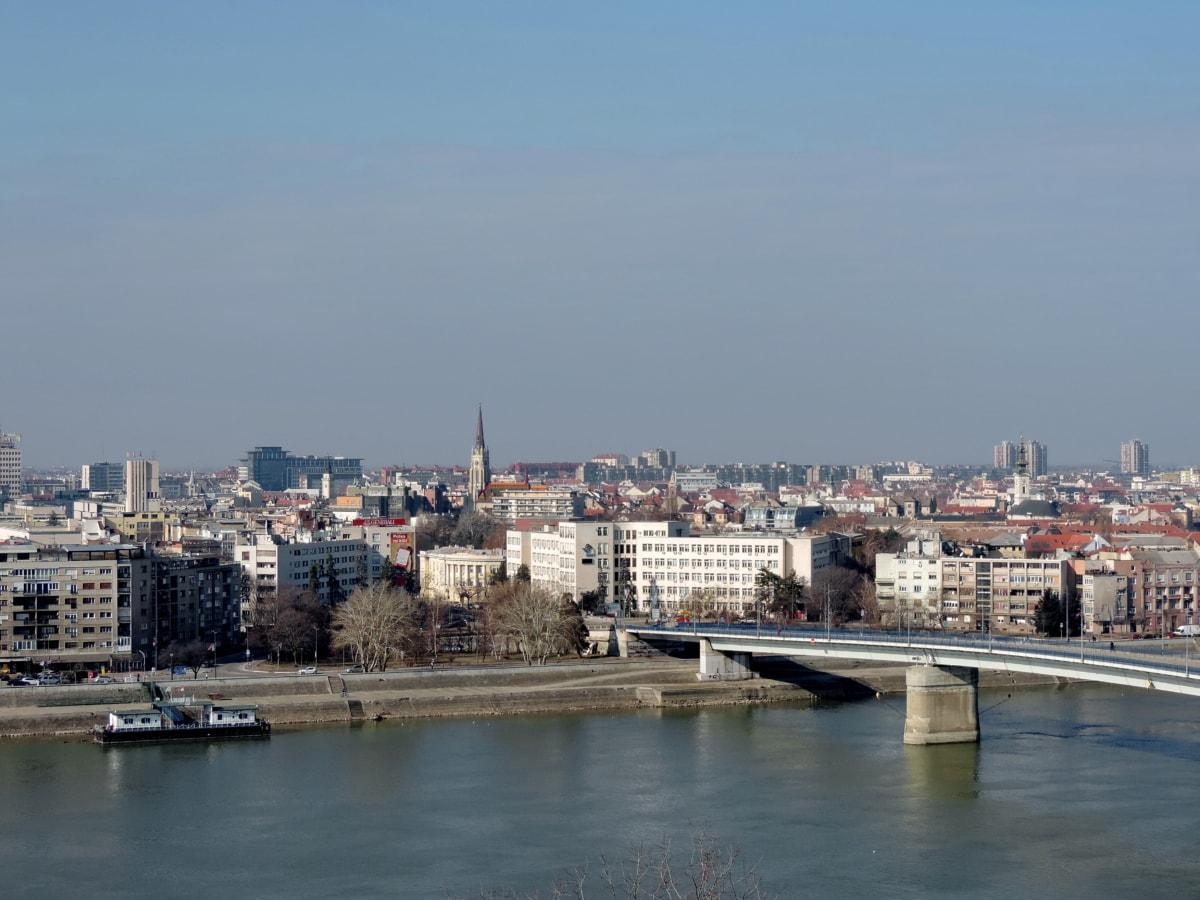 byen, vann, bybildet, vannkanten, brygge, arkitektur, elven, havn