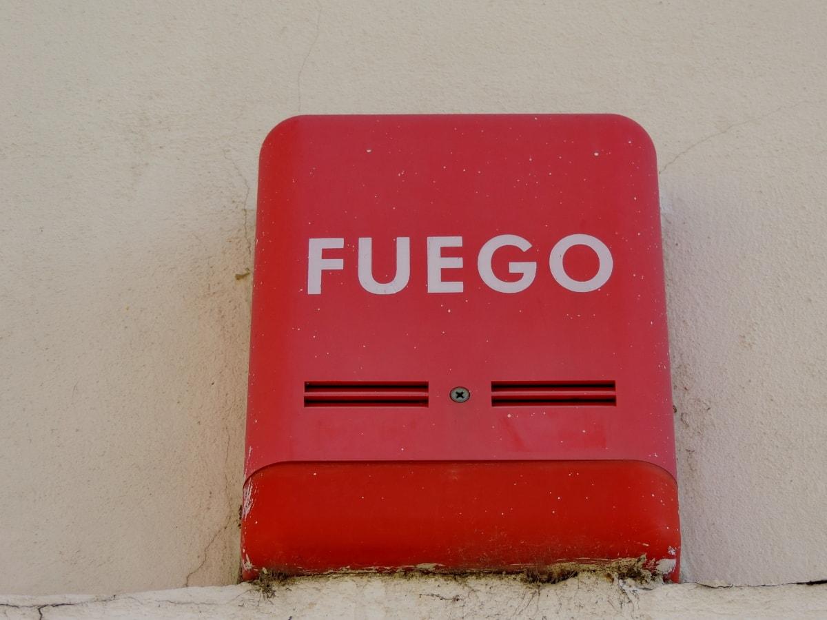 fare, tegn, alarm, enheten, retro, tom, nødnummer, vegg