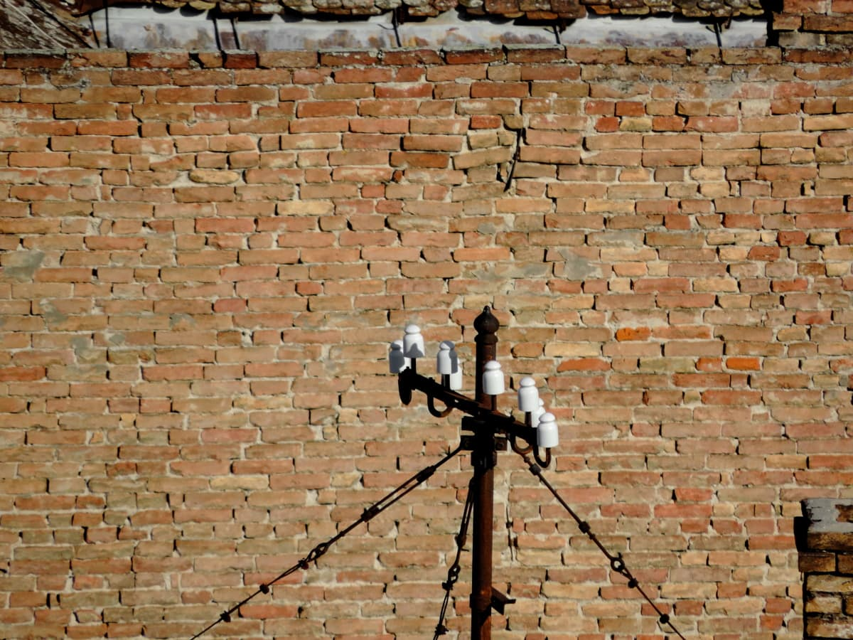 abandoned, electricity, rust, brick, surface, old, wall, stone