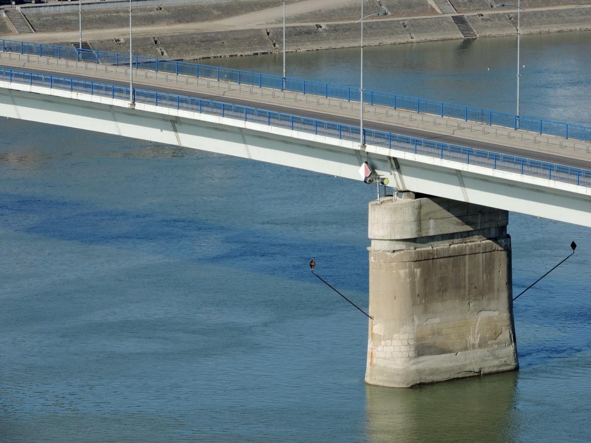 Ponte, molo, fodera, barca, acqua, fiume, settore, strada
