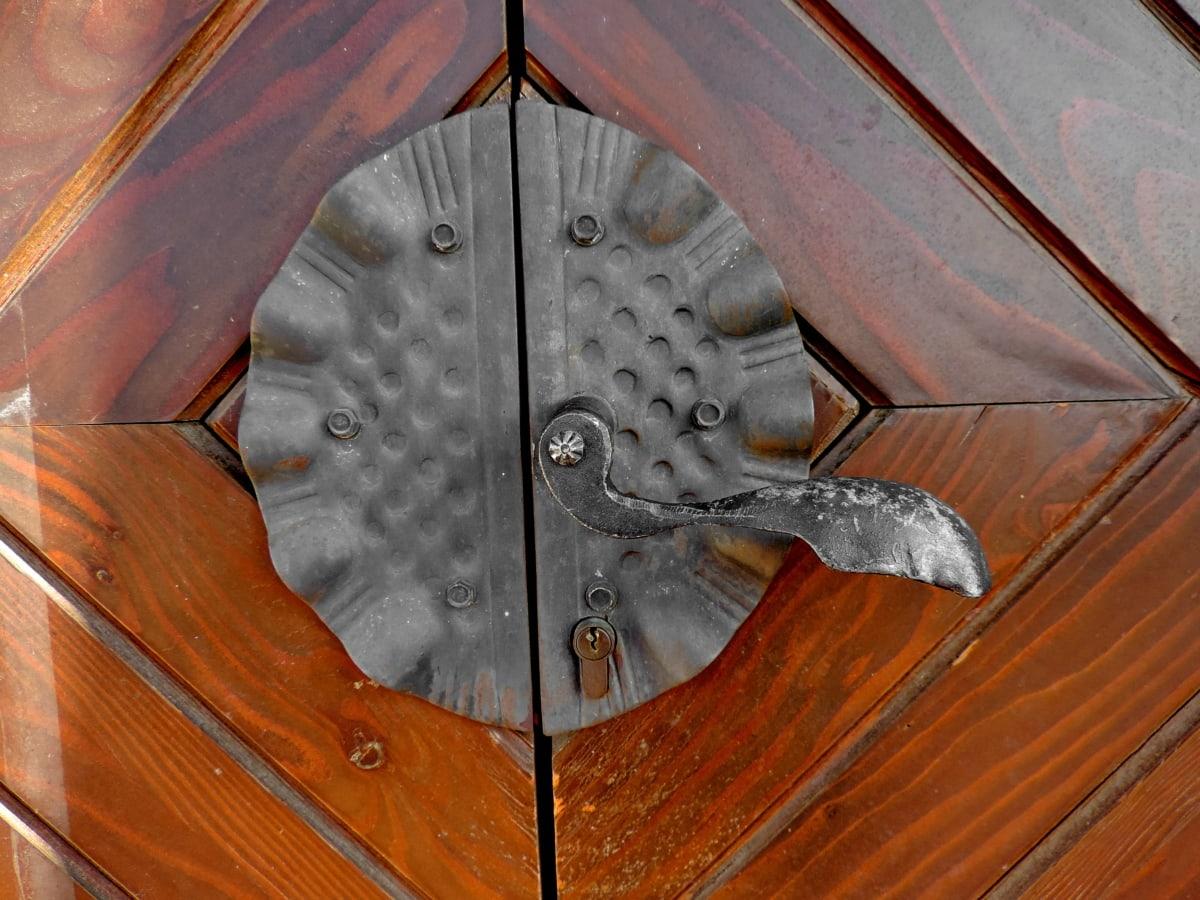 přední dveře, dřevo, staré, železo, dřevěný, umění, dveře, návrh
