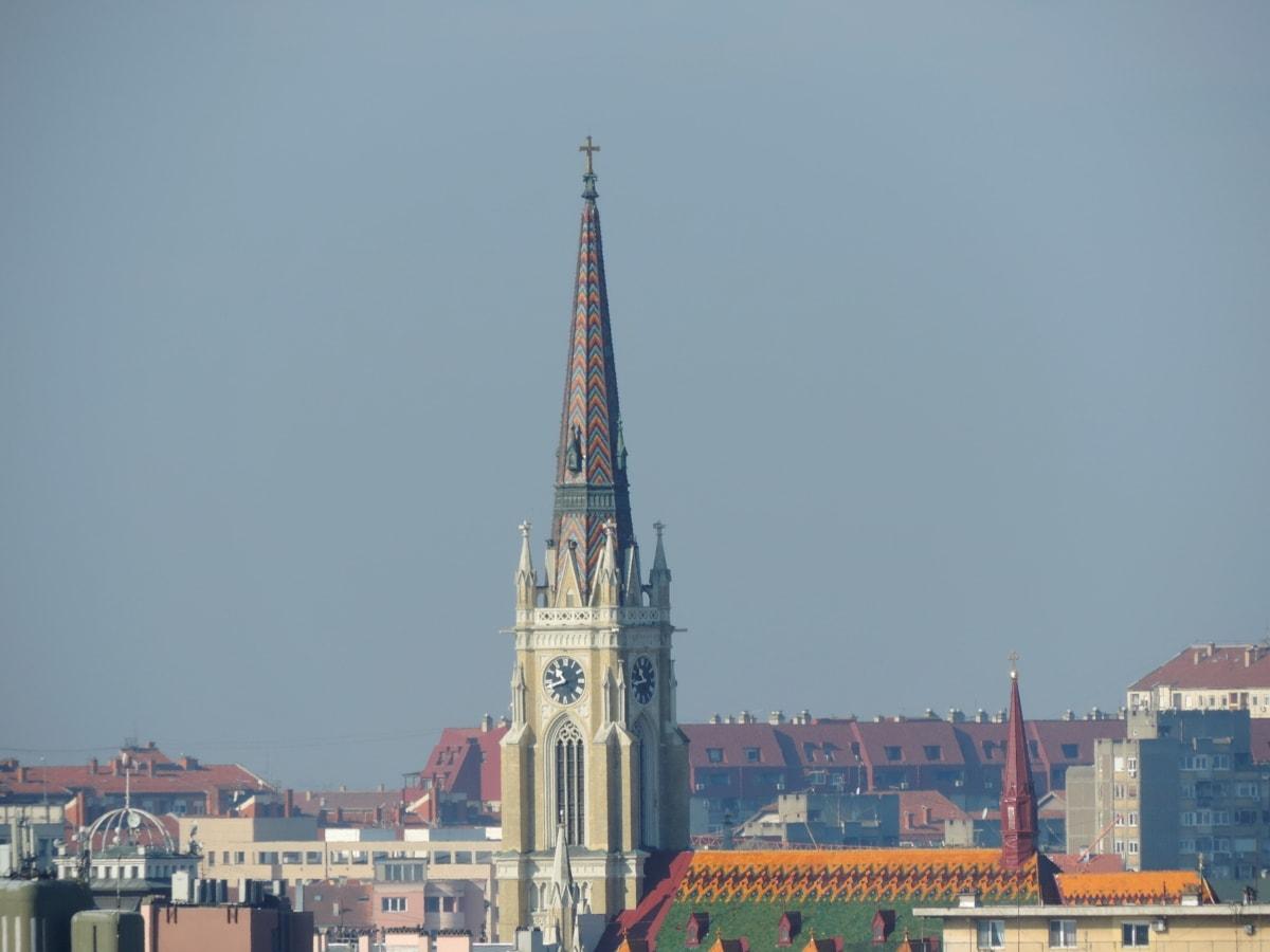 Църквата кула, сграда, архитектура, покриващи, кула, град, църква, на открито