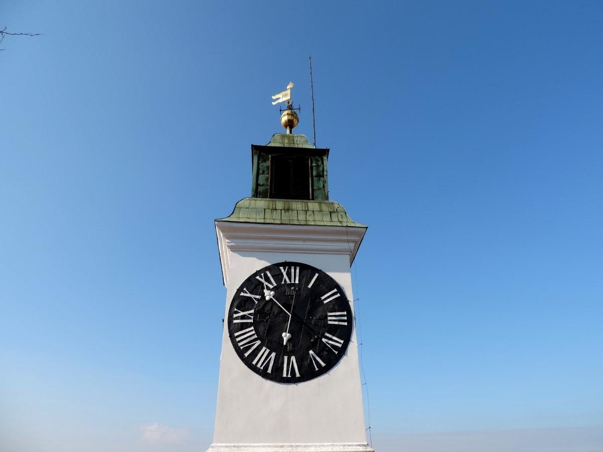 сграда, архитектура, кула, часовник, на открито, синьо небе, стар, време
