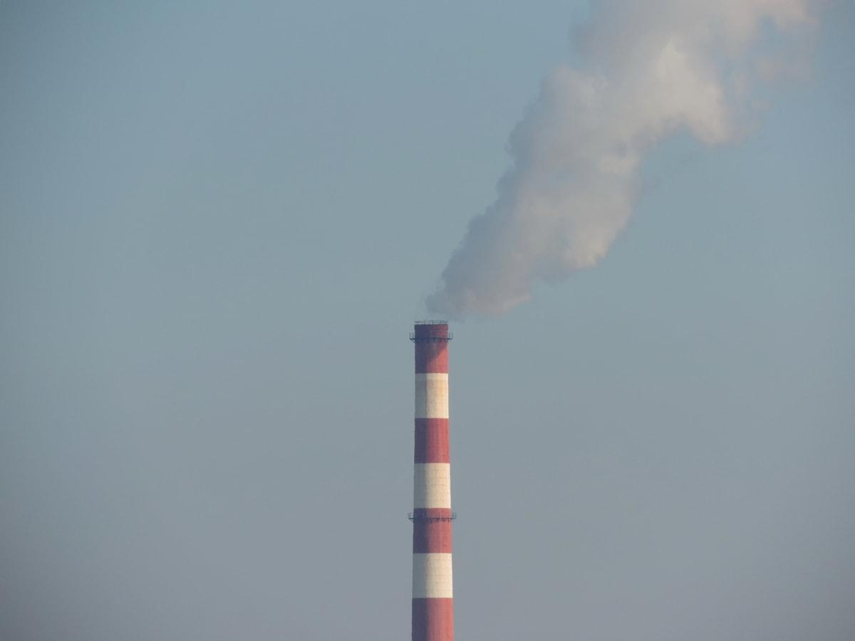kondens, fabrikk, røyk, varme, forurensning, smog, kull, industri