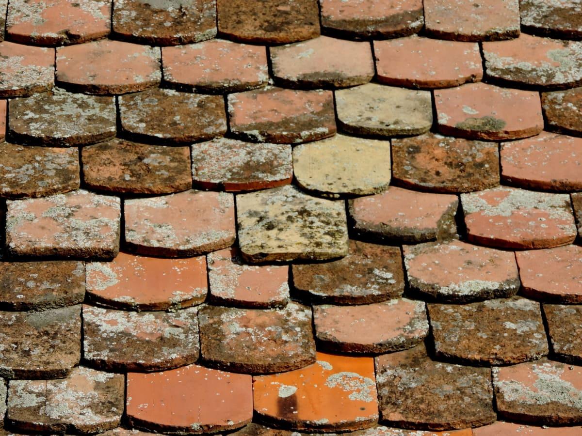 krov, na krovu, arhitektura, stari, površina, pločica, beton, tekstura