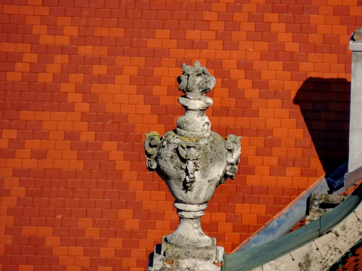 szobrászat, szobor, fal, építészet, design, régi, csempe, kő