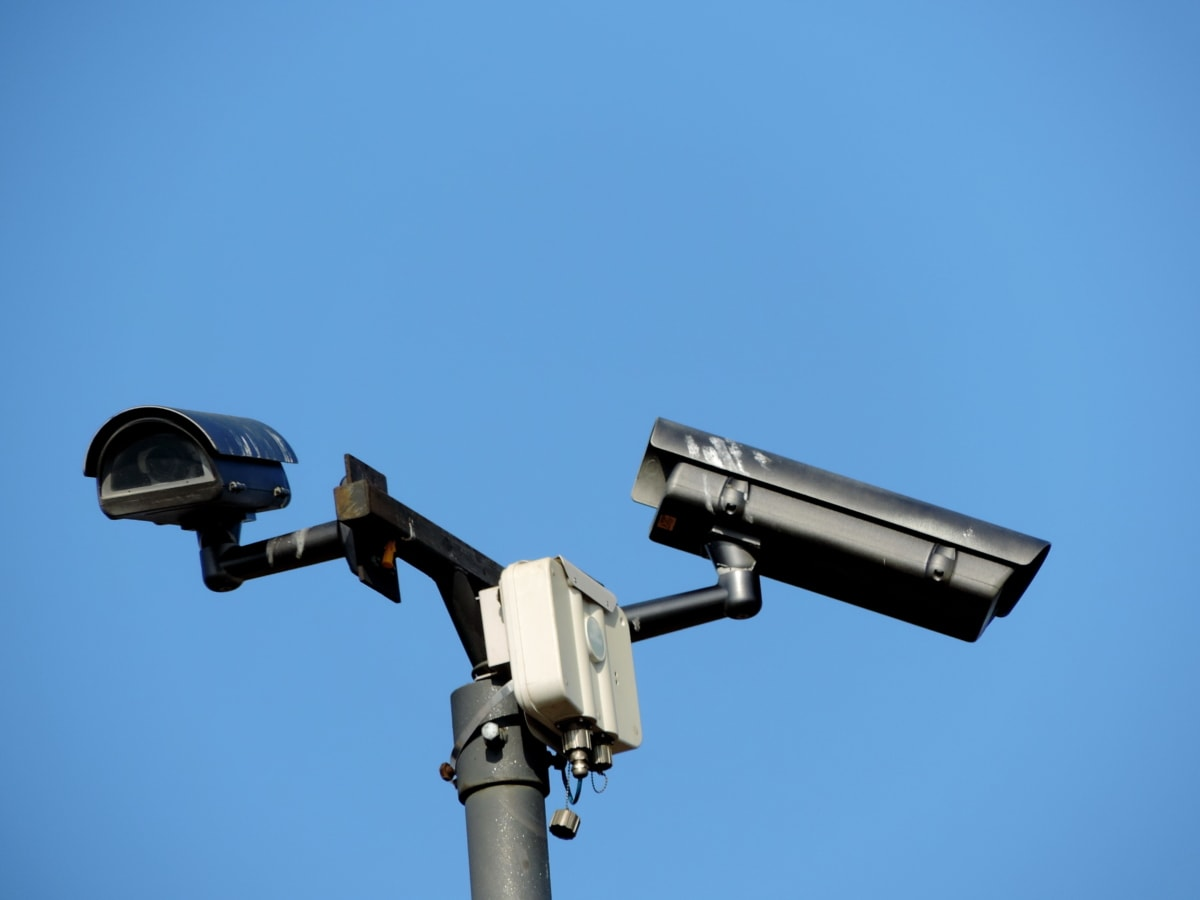 камера, Оборудване, апаратура, наблюдение, на открито, технология, леща, синьо небе