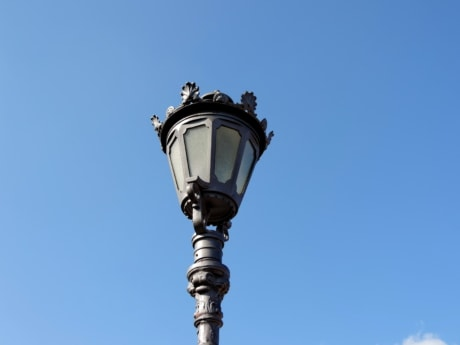 architecture, lamp, outdoors, blue sky, electricity, classic, lantern, old