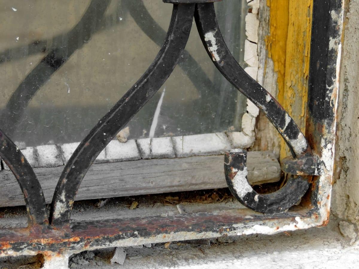 放弃, 窗口, 链, 锈, 脏, 行业, 老, 混凝土