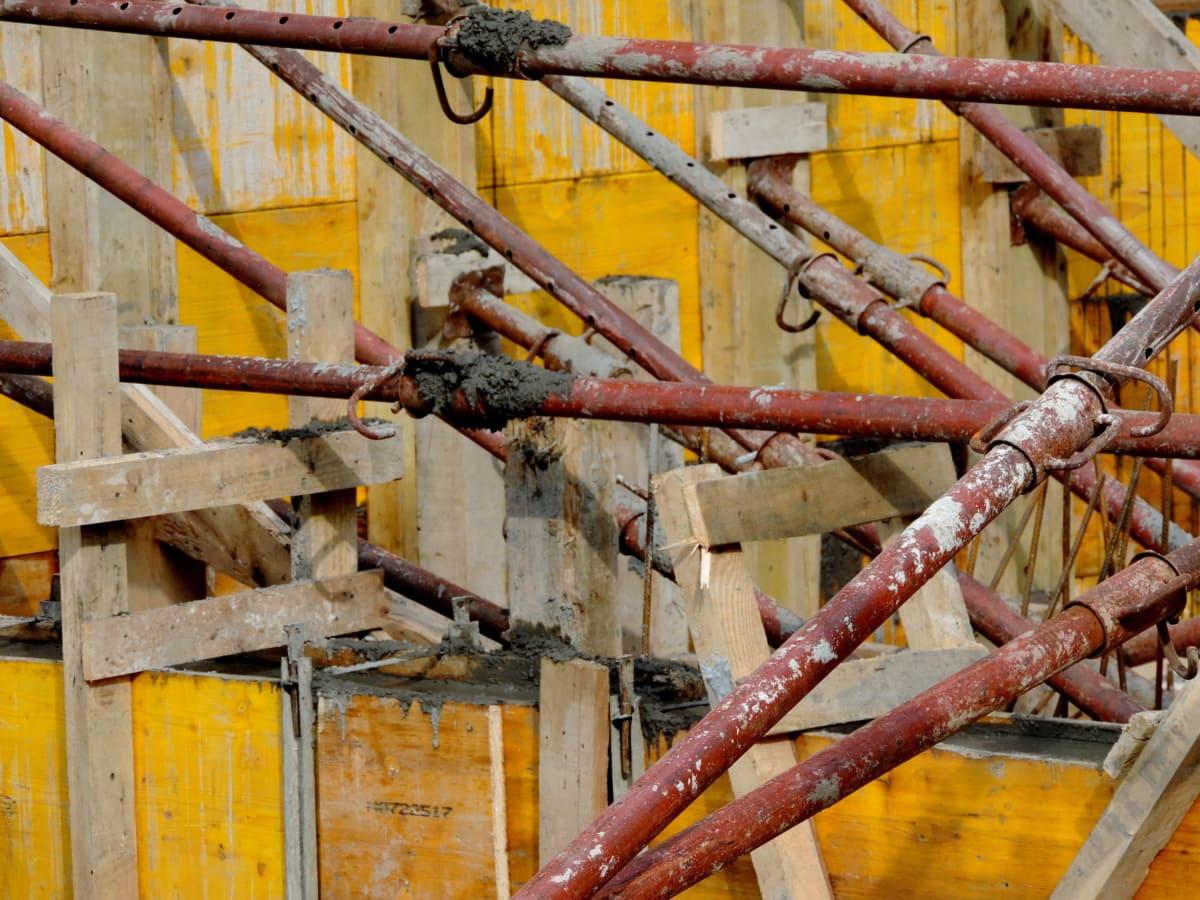 бетон, строительство, Старый, забор, промышленность, железо, сталь, ржавчина