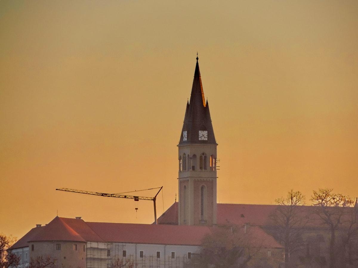 Katolícka, kresťanstvo, Chorvátsko, Architektúra, kostol, budova, veža, západ slnka