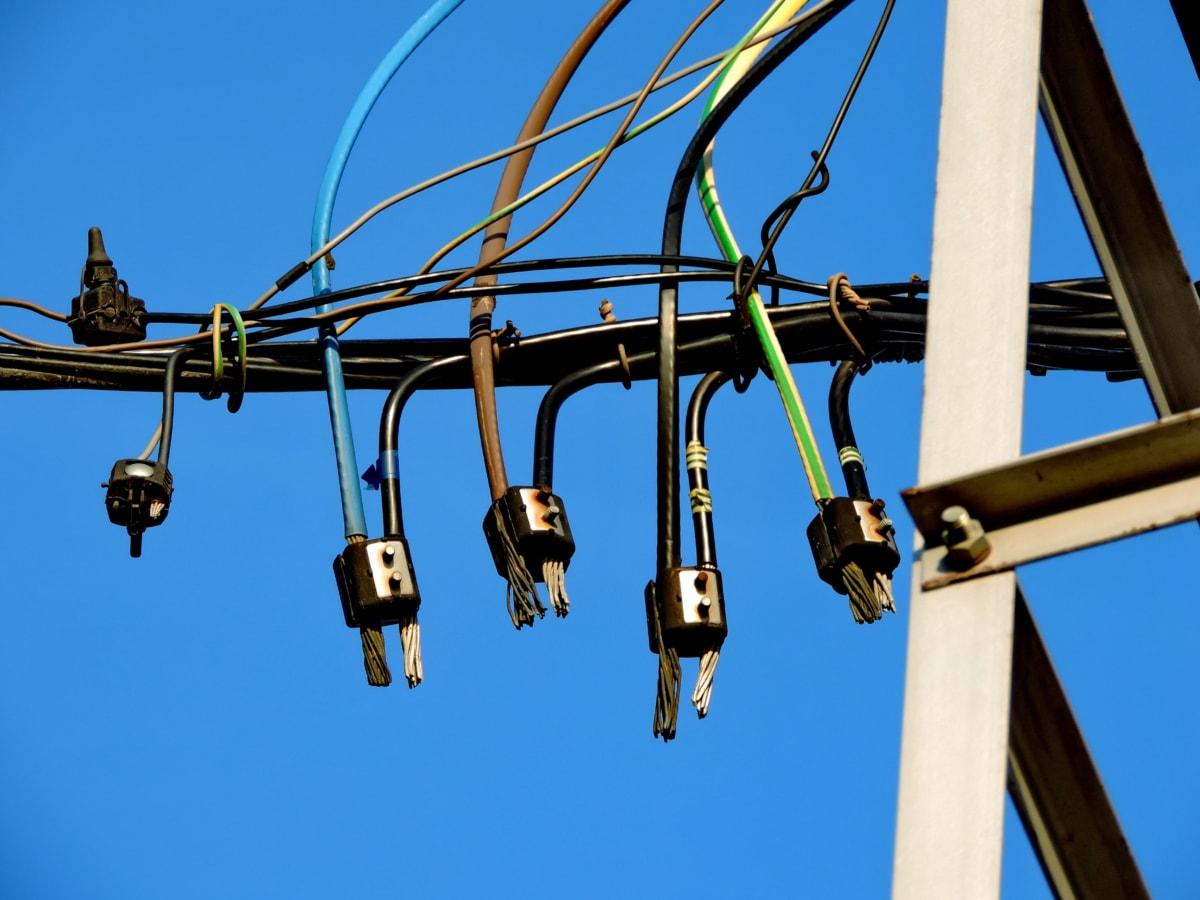 kábel, drôt, vonku, výkon, Technológia, oceľ, elektrickej energie, pripojenie