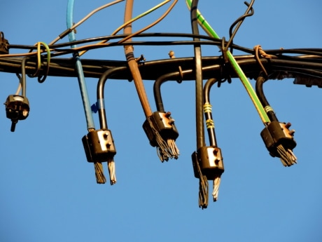 voltage, wire, hanging, cable, power, outdoors, technology, industry