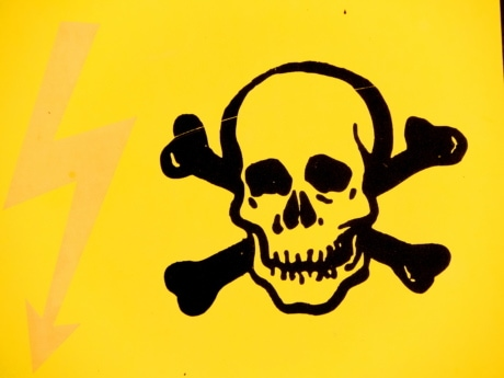 danger, sign, skull, silhouette, vector, illustration, art, design