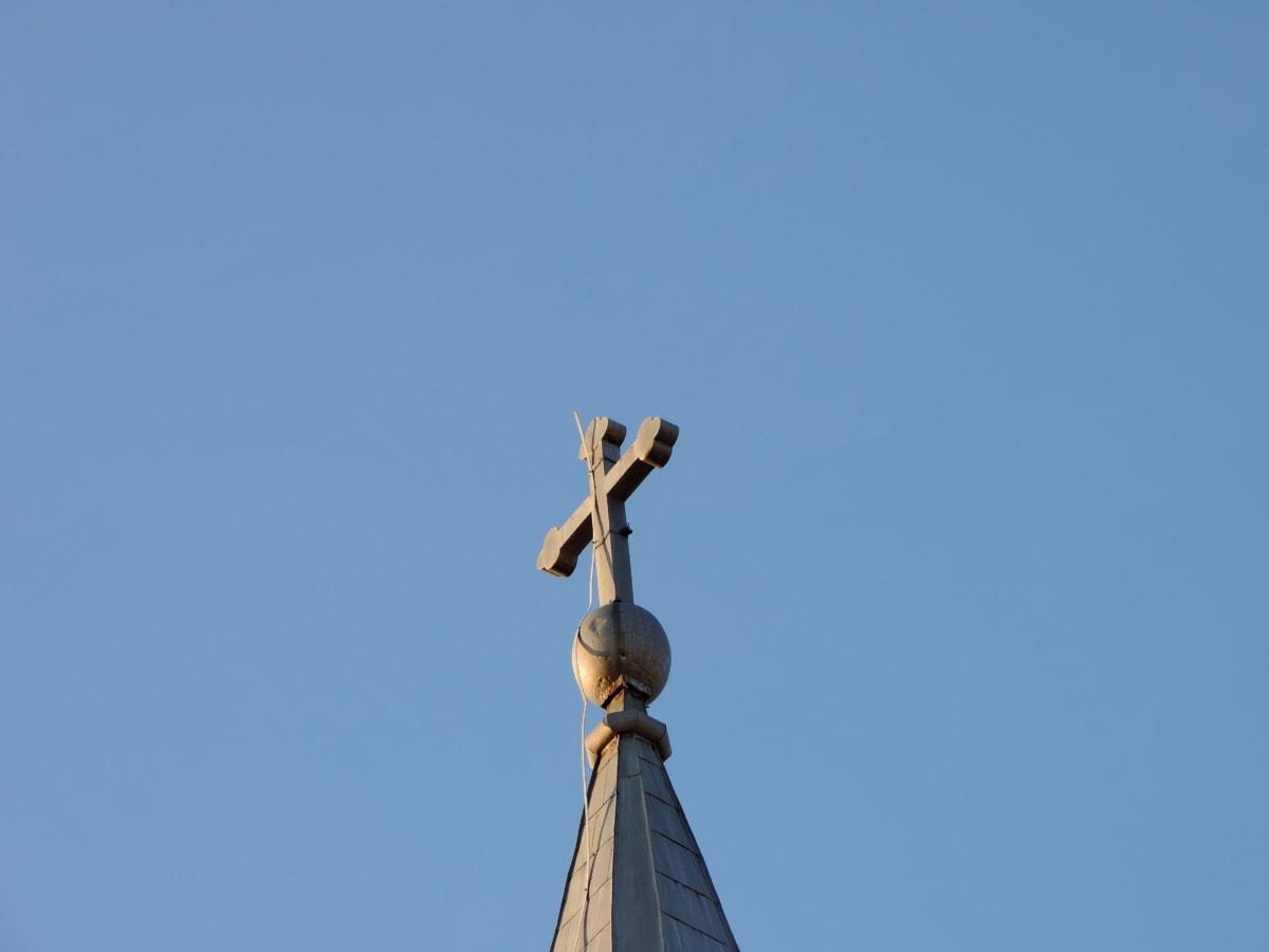 архитектура, на открито, синьо небе, дневна светлина, скулптура, религия, църква, хубаво време