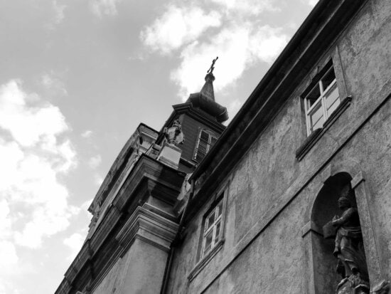 black and white, catholic, christianity, church tower, building, architecture, cathedral, city