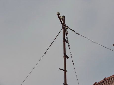 abandoned, electricity, old, roof, energy, pole, power, cable
