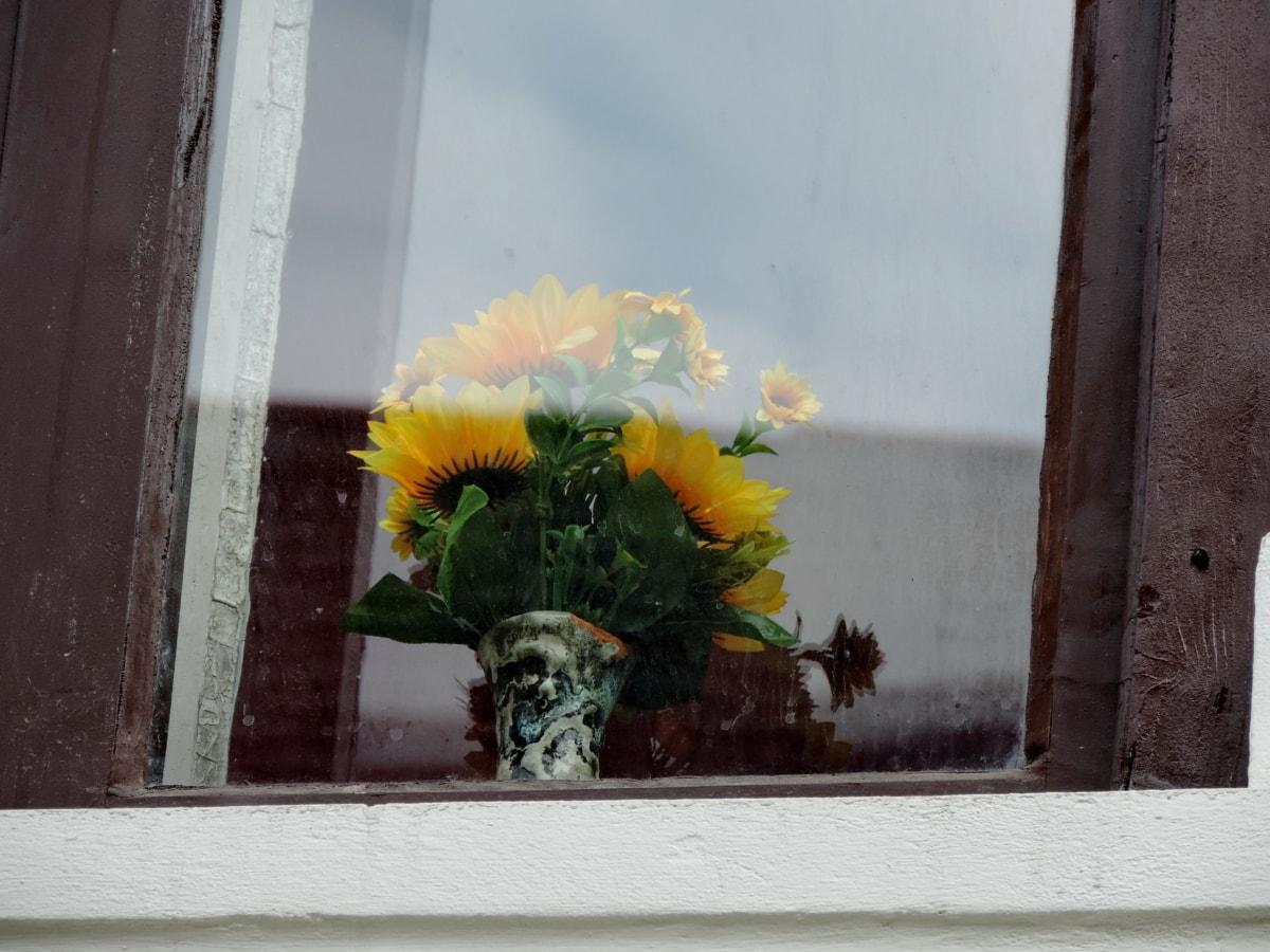 zátiší, dřevo, okno, květ, květiny, parapet, zeď, dům