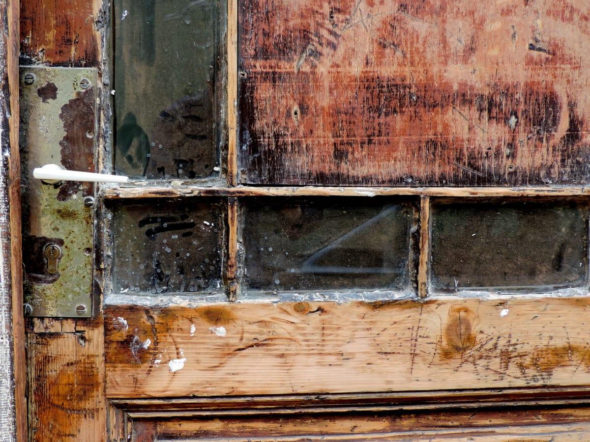 изоставени, мръсни, входната врата, стар, текстура, дървен материал, капаче, стена
