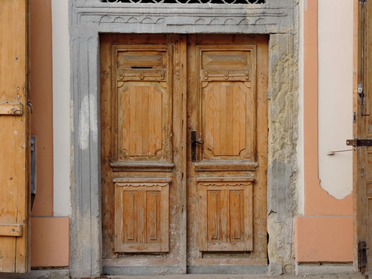 pintu depan, jalan, pintu, lama, kayu, kayu, rumah, arsitektur