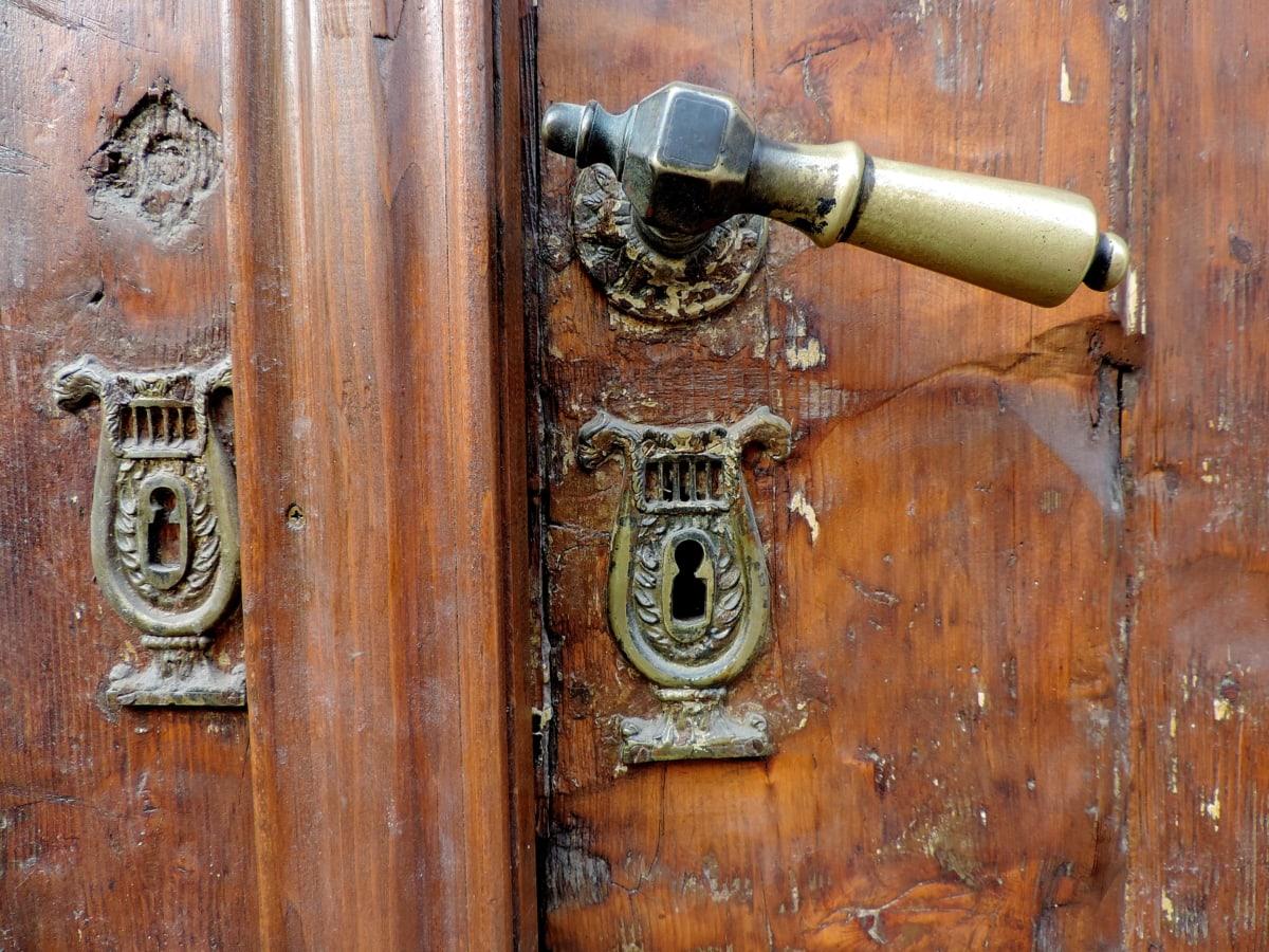 克, 黄铜, 前门, 孔, 老, 设备, 门, 木材