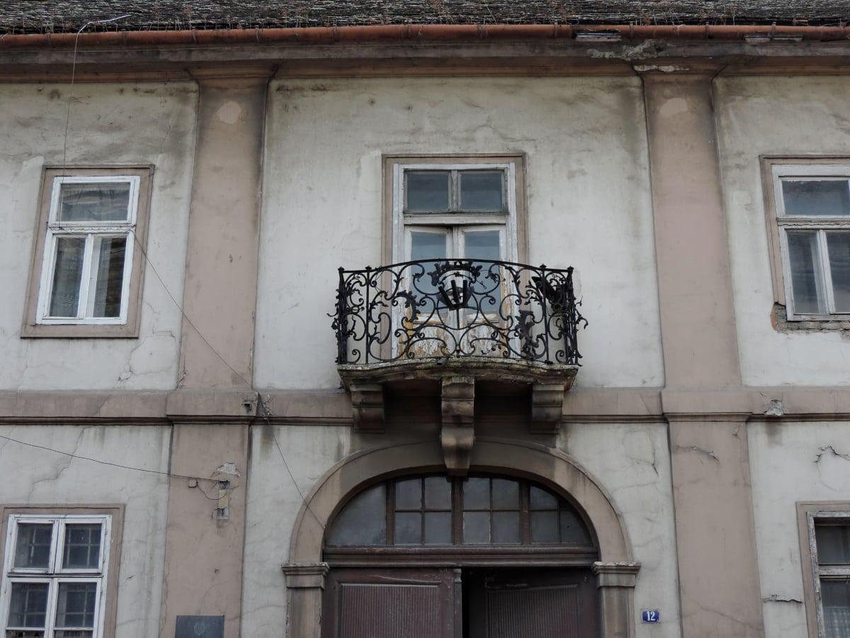 балкон, входната врата, фасада, сграда, къща, Прозорец, архитектура, стар