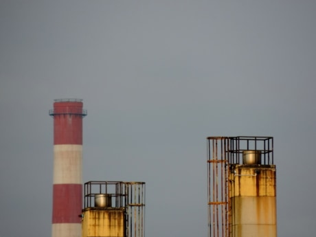 factory, workplace, tank, reservoir, lighthouse, pollution, outdoors, industry