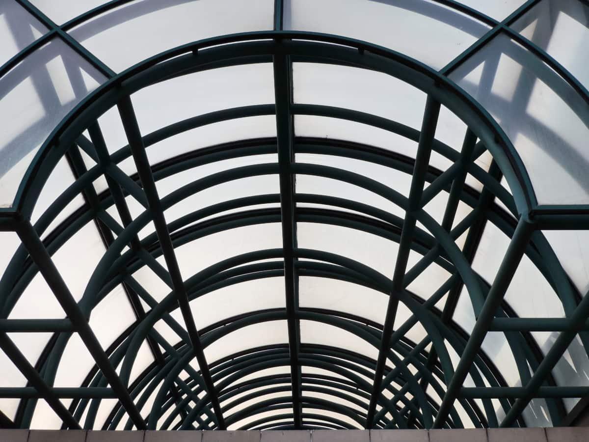 футуристичен, перспектива, структура, покрив, архитектура, сграда, геометрични, дизайн