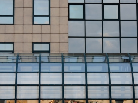futuristic, geometric, modern, building, architecture, window, office, reflection