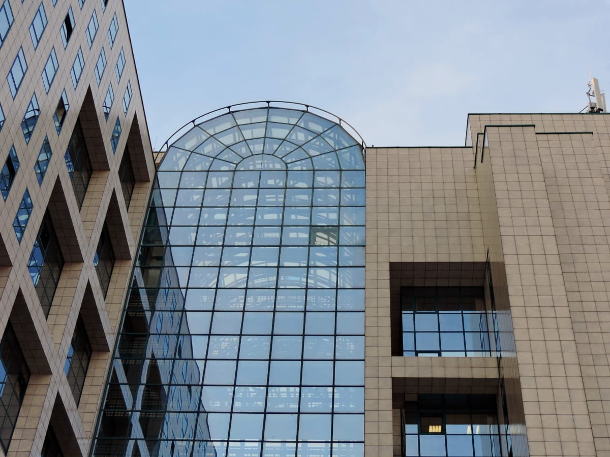 角度, 反射, 构建, 摩天大楼, 城市, 窗口, 玻璃, 体系结构