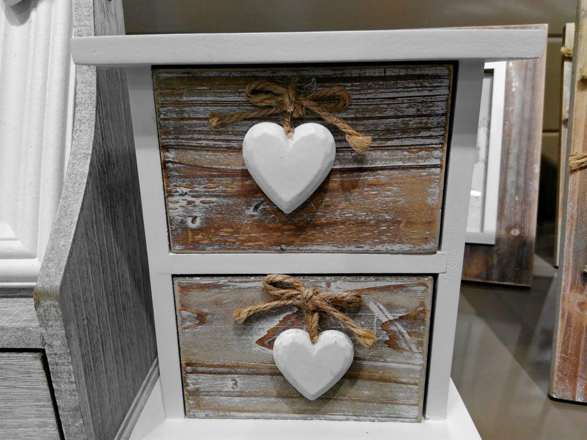 кутия, мебели, сърце, романтичен, закрито, дървен материал, стая, къща