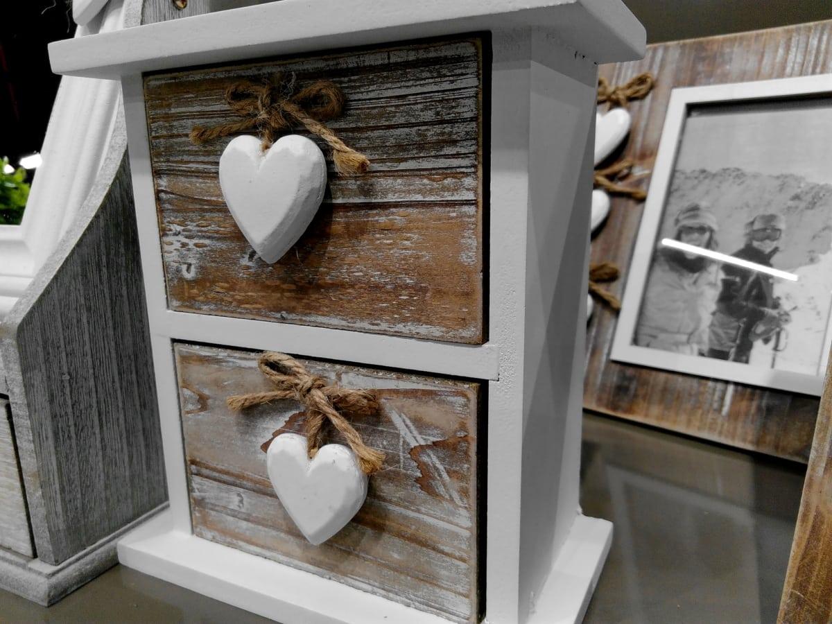 декорация, рамка, сърце, дървен материал, закрито, стая, мебели, къща