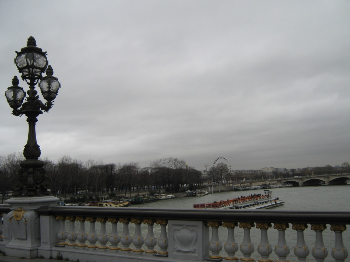 brug, cruise schip, centrum, Frankrijk, rivier, schip, patio, structuur
